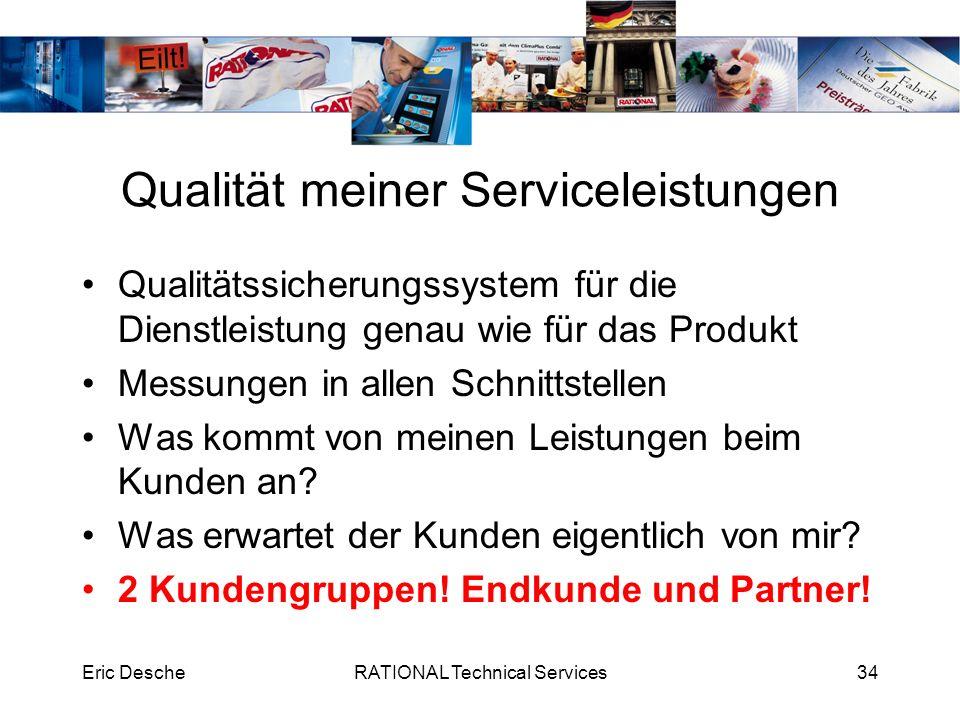 Eric DescheRATIONAL Technical Services34 Qualität meiner Serviceleistungen Qualitätssicherungssystem für die Dienstleistung genau wie für das Produkt