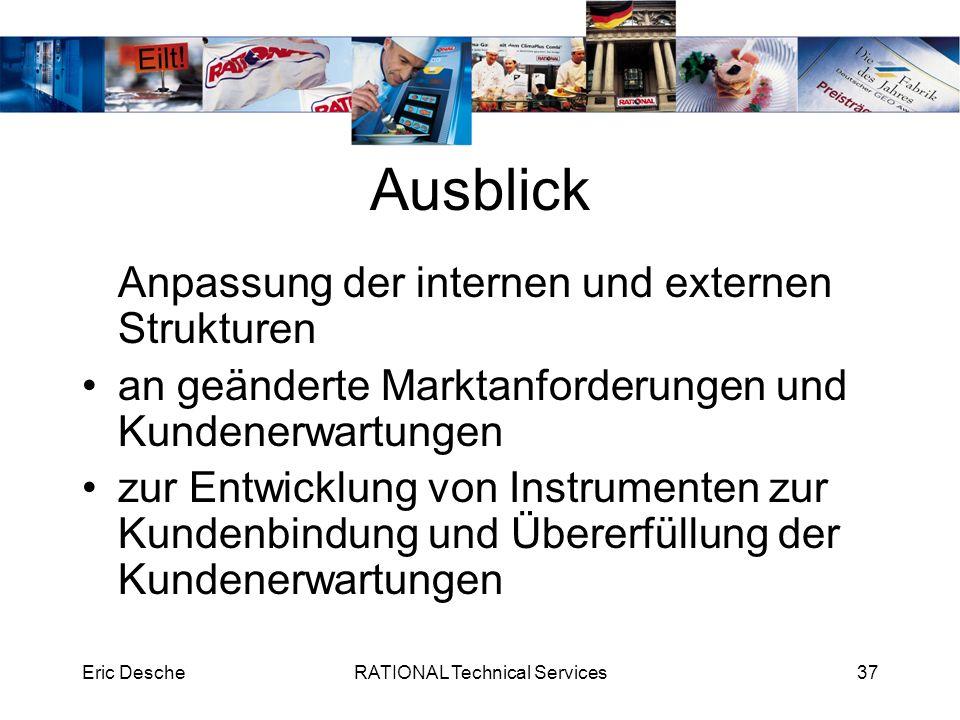 Eric DescheRATIONAL Technical Services37 Ausblick Anpassung der internen und externen Strukturen an geänderte Marktanforderungen und Kundenerwartungen