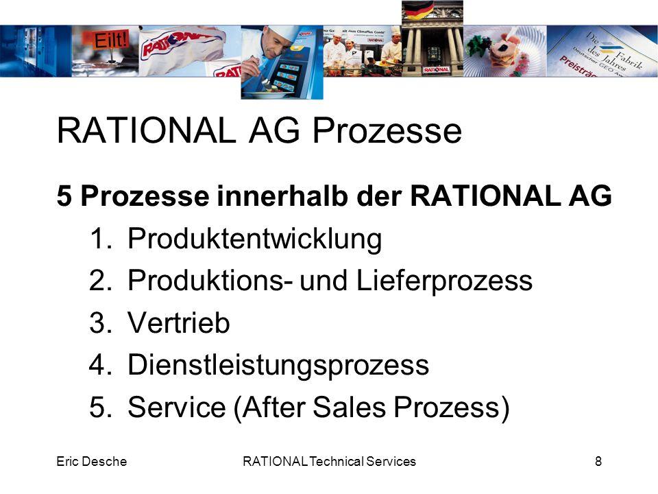 Eric DescheRATIONAL Technical Services8 RATIONAL AG Prozesse 5 Prozesse innerhalb der RATIONAL AG 1.Produktentwicklung 2.Produktions- und Lieferprozes