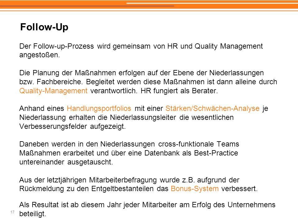 17 Follow-Up Der Follow-up-Prozess wird gemeinsam von HR und Quality Management angestoßen. Die Planung der Maßnahmen erfolgen auf der Ebene der Niede
