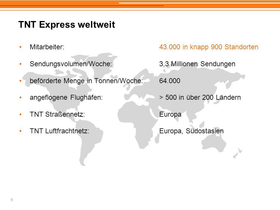 5 TNT Express weltweit Mitarbeiter:43.000 in knapp 900 Standorten Sendungsvolumen/Woche: 3,3 Millionen Sendungen beförderte Menge in Tonnen/Woche:64.0