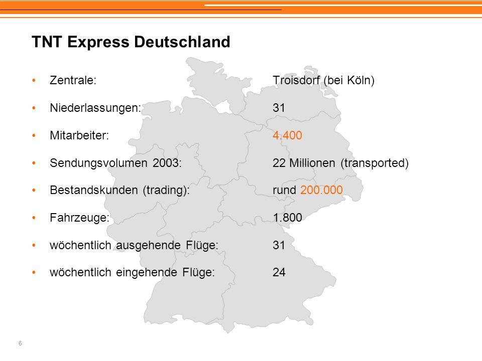 6 TNT Express Deutschland Zentrale:Troisdorf (bei Köln) Niederlassungen:31 Mitarbeiter:4.400 Sendungsvolumen 2003:22 Millionen (transported) Bestandsk