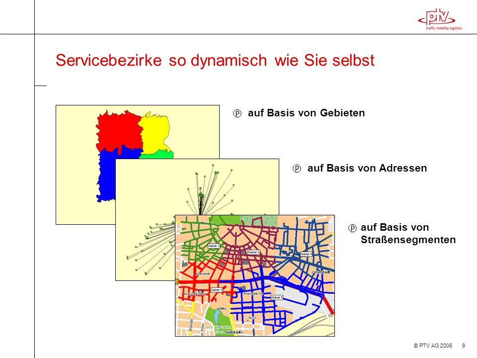 © PTV AG 2005 20 Erfahrungen bei der Online-Ortung im Service > Bietet maximale Flexibilität der Einsatzplanung > Intervall der Ortung ist Abhängig vom Geschäftsprozess und der räumlichen Ausdehnung des Gebiets > Die Kosten für die Ortung sind genau zu analysieren und zu kalibrieren > Die GPS Ortung ist für den feinräumigen Einsatz am besten geeignet > Eine reine Handyortung (Zellortung) kann bei überregionalen Einsätzen ausreichen (und wird von PTV AG nun erstmalig über alle Provider bundesweit angeboten) > Der Betriebsrat will mitreden und muss einbezogen sein > Verschiedene Endgeräte (auch Festeinbau) können im Mischbetrieb Sinn machen