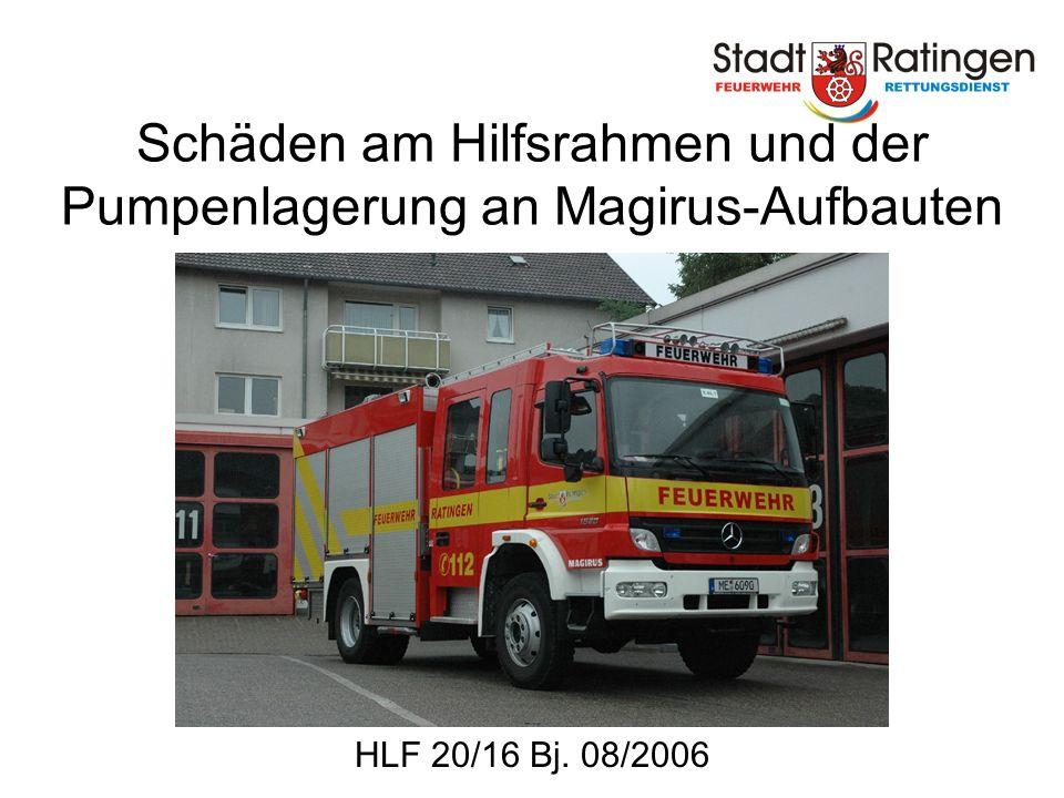 Schäden am Hilfsrahmen und der Pumpenlagerung an Magirus-Aufbauten HLF 20/16 Bj. 08/2006