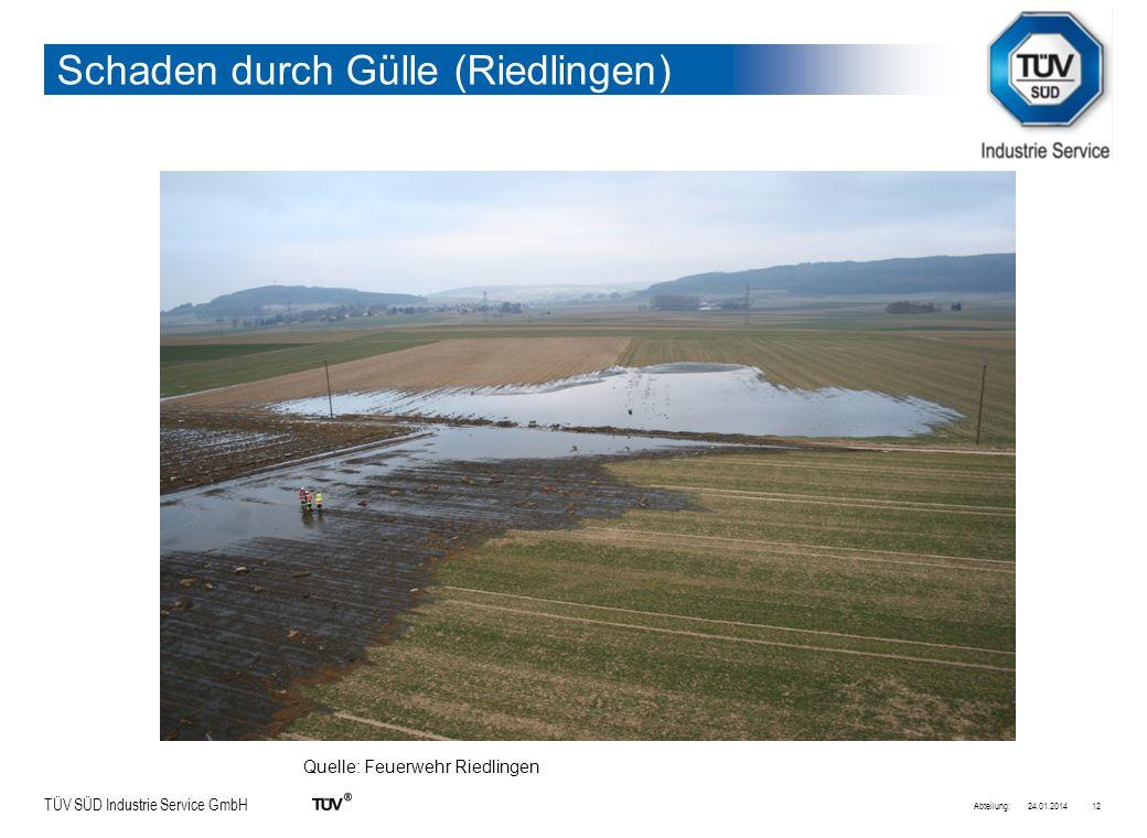 TÜV SÜD Industrie Service GmbH 24.01.2014Abteilung:12 Schaden durch Gülle (Riedlingen) Quelle: Feuerwehr Riedlingen