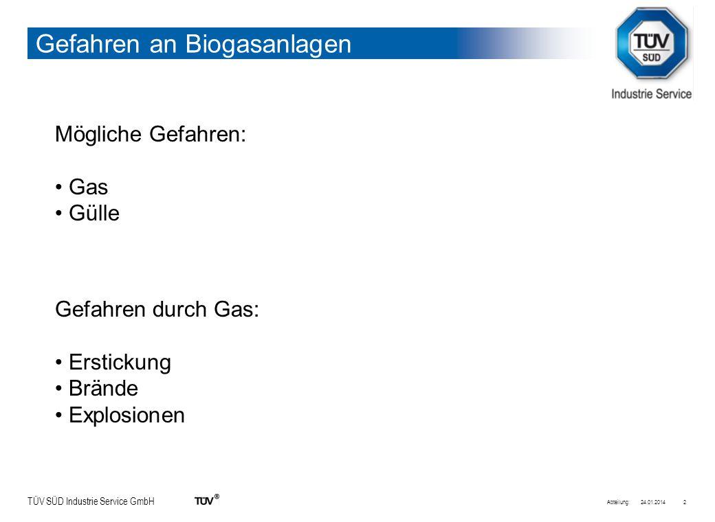 TÜV SÜD Industrie Service GmbH Eigenschaften von Biogas Zusammensetzung: Methan50% - 80% Kohlendioxid 20% - 50% Schwefelwasserstoffbis zu 0,4% 24.01.2014Abteilung:3 Explosionsgrenzen von Biogas: 4,4 % - 16,5% Zündtemperatur: 650 -750°C