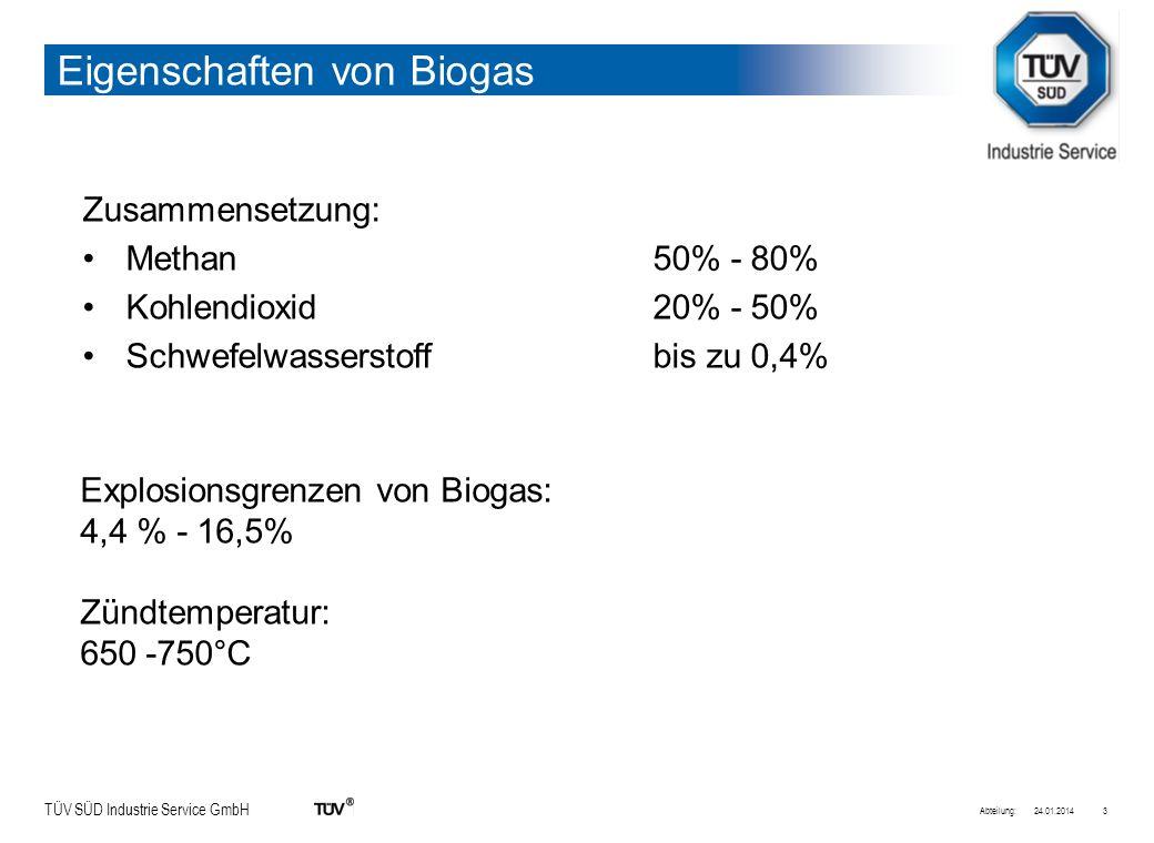 TÜV SÜD Industrie Service GmbH Eigenschaften von Biogas Methan leichter als Luft Kohlendoixidschwerer als Luft -> Erstickungsgefahr in tiefer gelegenen Räumen 24.01.2014Abteilung:4
