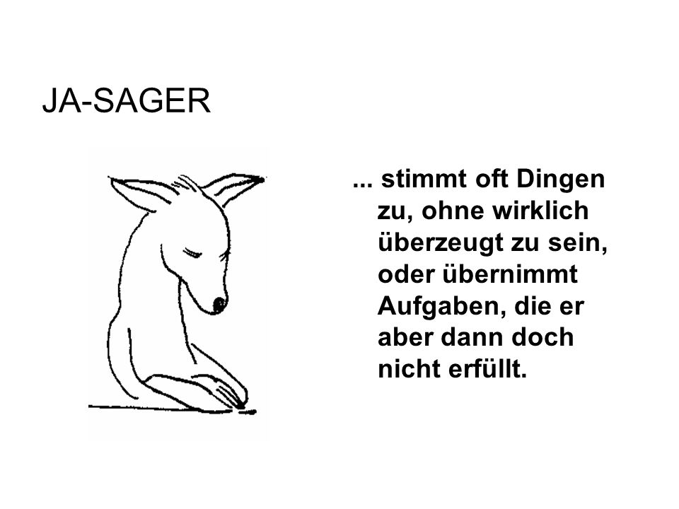 JA-SAGER... stimmt oft Dingen zu, ohne wirklich überzeugt zu sein, oder übernimmt Aufgaben, die er aber dann doch nicht erfüllt.
