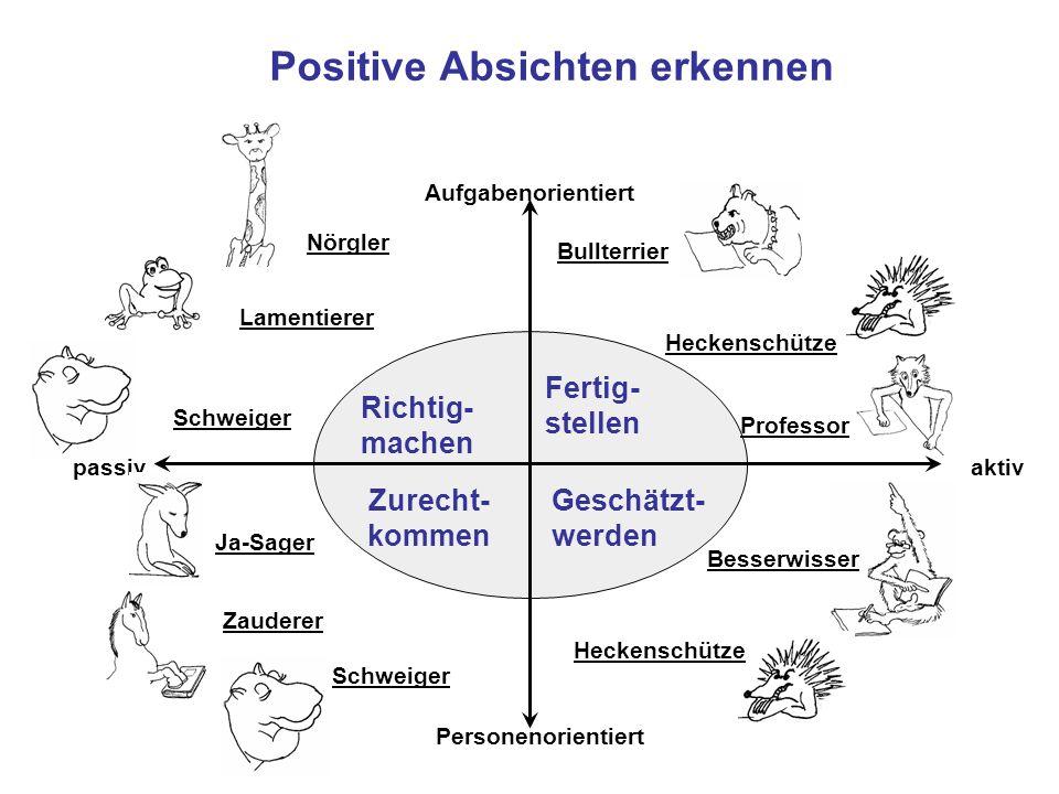 Positive Absichten erkennen Richtig- machen Fertig- stellen Geschätzt- werden Zurecht- kommen Aufgabenorientiert Personenorientiert aktivpassiv Bullte