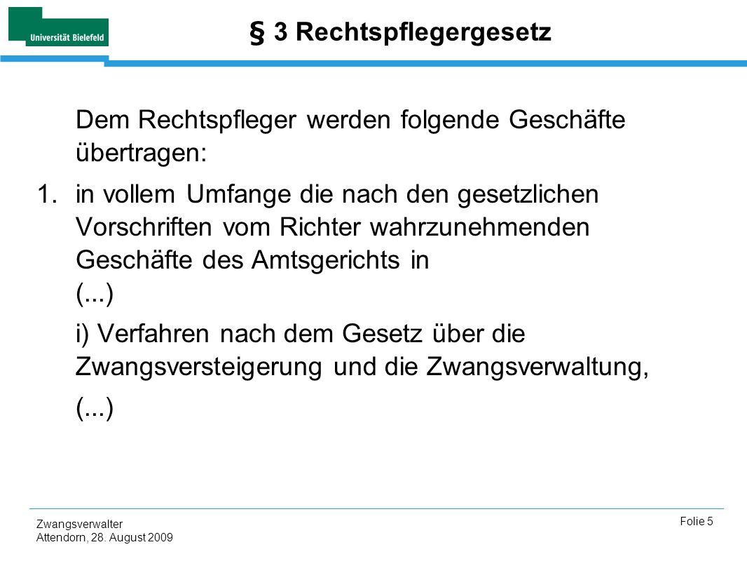 Zwangsverwalter Attendorn, 28.August 2009 Folie 6 Vergleich der Gerichtsorgane Richter Art.