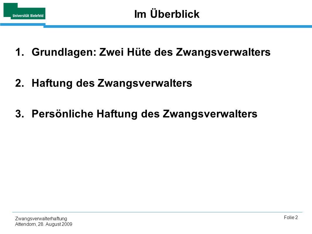 Zwangsverwalterhaftung Attendorn, 28. August 2009 Folie 2 Im Überblick 1.Grundlagen: Zwei Hüte des Zwangsverwalters 2.Haftung des Zwangsverwalters 3.P