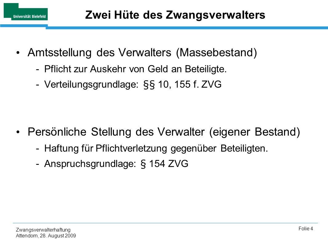 Zwangsverwalterhaftung Attendorn, 28. August 2009 Folie 4 Zwei Hüte des Zwangsverwalters Amtsstellung des Verwalters (Massebestand) -Pflicht zur Auske