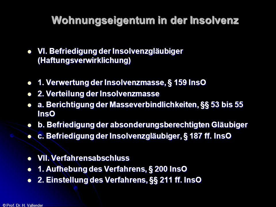 © Prof. Dr. H. Vallender Wohnungseigentum in der Insolvenz VI. Befriedigung der Insolvenzgläubiger (Haftungsverwirklichung) VI. Befriedigung der Insol