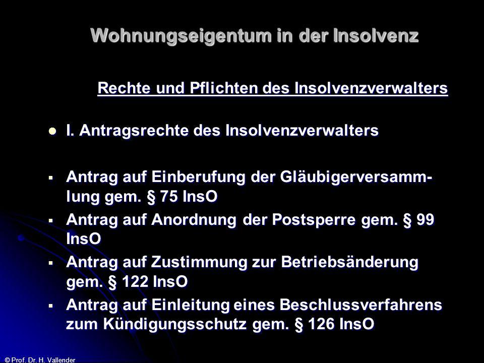 © Prof. Dr. H. Vallender Wohnungseigentum in der Insolvenz Rechte und Pflichten des Insolvenzverwalters I. Antragsrechte des Insolvenzverwalters I. An