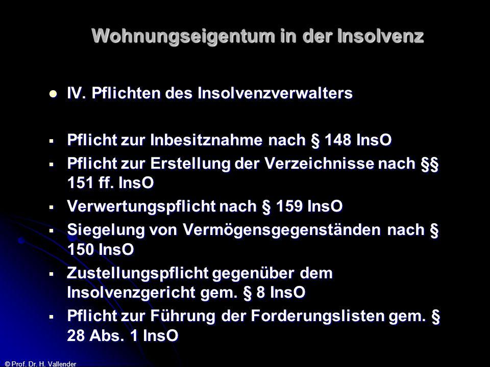 © Prof. Dr. H. Vallender Wohnungseigentum in der Insolvenz IV. Pflichten des Insolvenzverwalters IV. Pflichten des Insolvenzverwalters Pflicht zur Inb
