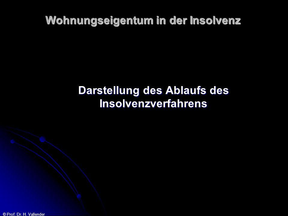 © Prof. Dr. H. Vallender Wohnungseigentum in der Insolvenz Darstellung des Ablaufs des Insolvenzverfahrens