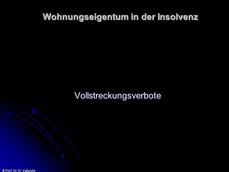 © Prof. Dr. H. Vallender Wohnungseigentum in der Insolvenz Vollstreckungsverbote