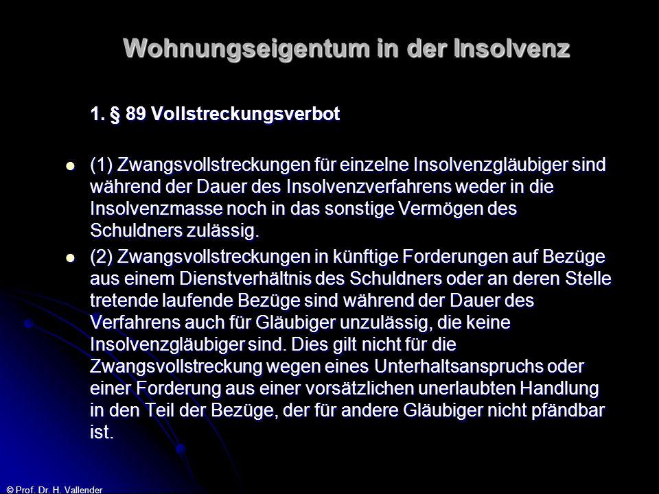 © Prof. Dr. H. Vallender Wohnungseigentum in der Insolvenz 1. § 89 Vollstreckungsverbot (1) Zwangsvollstreckungen für einzelne Insolvenzgläubiger sind