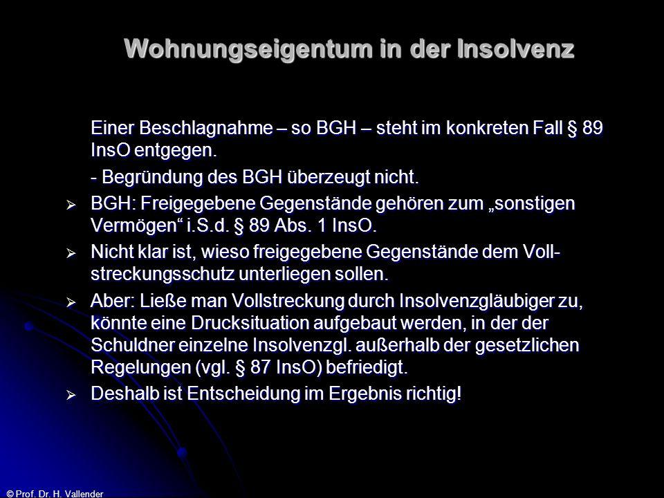 © Prof. Dr. H. Vallender Wohnungseigentum in der Insolvenz Einer Beschlagnahme – so BGH – steht im konkreten Fall § 89 InsO entgegen. - Begründung des