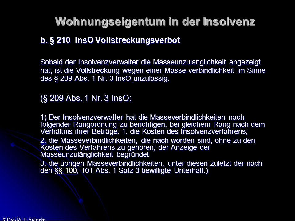 © Prof. Dr. H. Vallender Wohnungseigentum in der Insolvenz b. § 210 InsO Vollstreckungsverbot Sobald der Insolvenzverwalter die Masseunzulänglichkeit