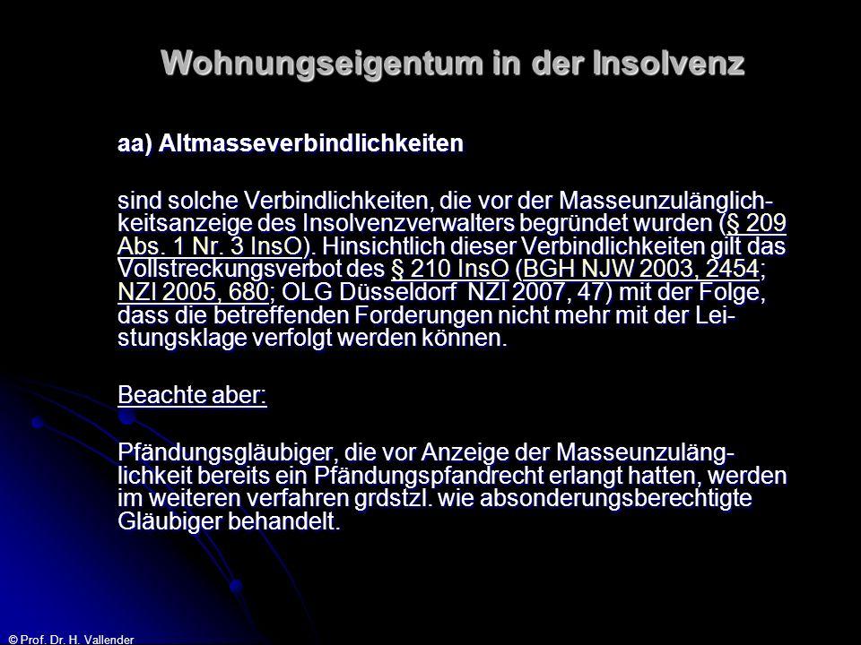 © Prof. Dr. H. Vallender Wohnungseigentum in der Insolvenz aa) Altmasseverbindlichkeiten sind solche Verbindlichkeiten, die vor der Masseunzulänglich-