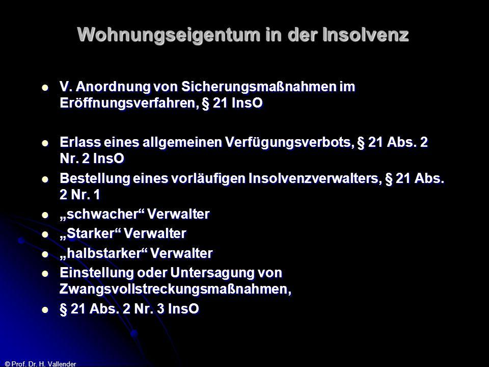 © Prof.Dr. H. Vallender Umgang des WEG-Verwalters mit dem Insolvenzverwalter 2.