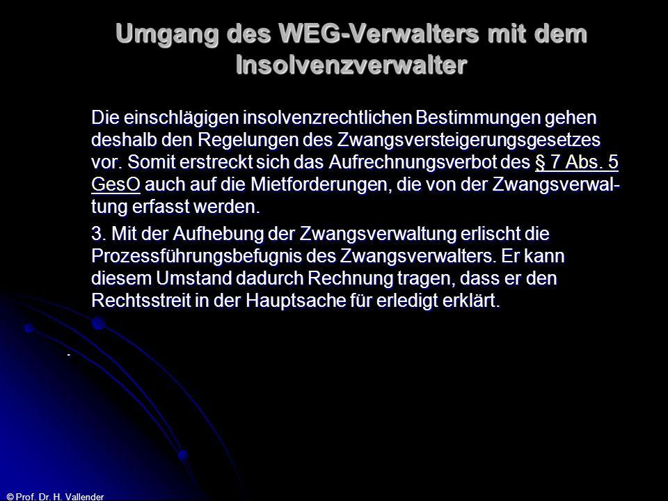 © Prof. Dr. H. Vallender Umgang des WEG-Verwalters mit dem Insolvenzverwalter Die einschlägigen insolvenzrechtlichen Bestimmungen gehen deshalb den Re