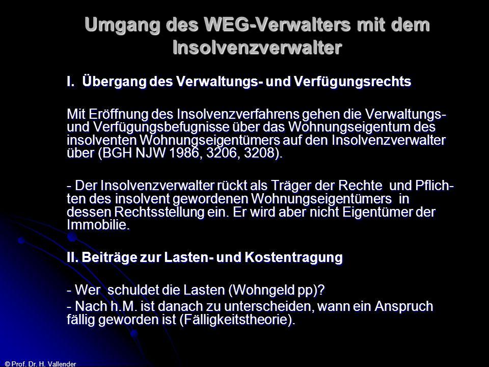© Prof. Dr. H. Vallender Umgang des WEG-Verwalters mit dem Insolvenzverwalter I. Übergang des Verwaltungs- und Verfügungsrechts Mit Eröffnung des Inso