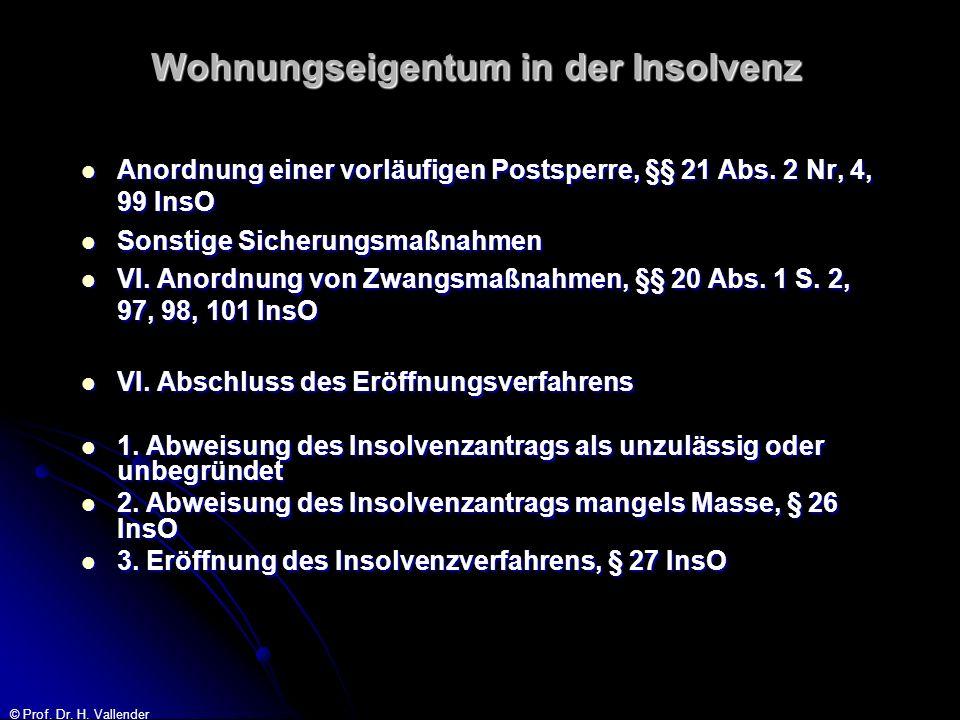 © Prof. Dr. H. Vallender Wohnungseigentum in der Insolvenz Anordnung einer vorläufigen Postsperre, §§ 21 Abs. 2 Nr, 4, 99 InsO Anordnung einer vorläuf