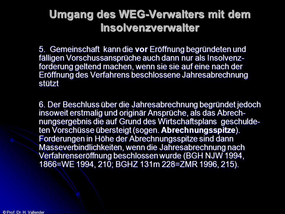 © Prof. Dr. H. Vallender Umgang des WEG-Verwalters mit dem Insolvenzverwalter 5. Gemeinschaft kann die vor Eröffnung begründeten und fälligen Vorschus