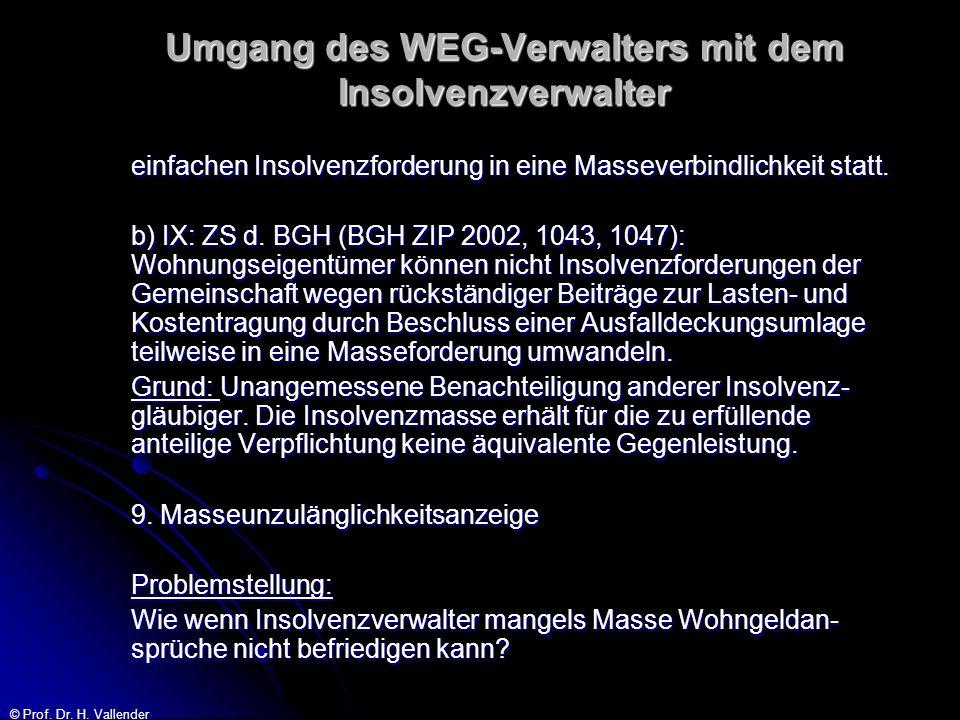 © Prof. Dr. H. Vallender Umgang des WEG-Verwalters mit dem Insolvenzverwalter einfachen Insolvenzforderung in eine Masseverbindlichkeit statt. b) IX: