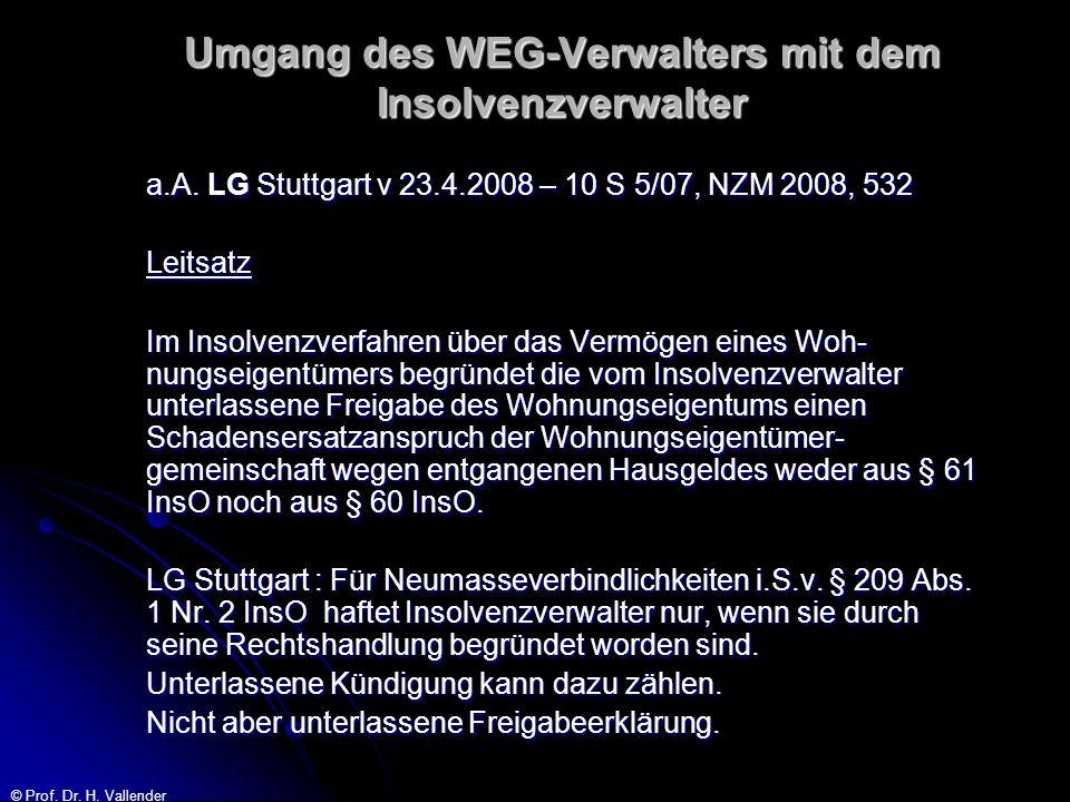 © Prof. Dr. H. Vallender Umgang des WEG-Verwalters mit dem Insolvenzverwalter a.A. LG Stuttgart v 23.4.2008 – 10 S 5/07, NZM 2008, 532 Leitsatz Im Ins