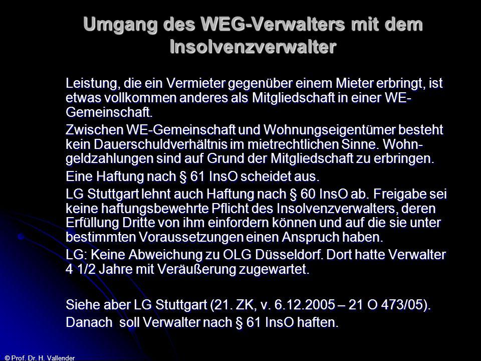 © Prof. Dr. H. Vallender Umgang des WEG-Verwalters mit dem Insolvenzverwalter Leistung, die ein Vermieter gegenüber einem Mieter erbringt, ist etwas v