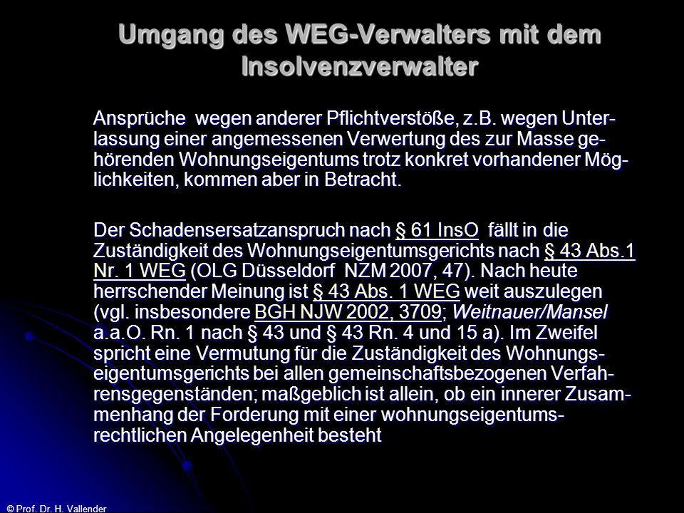 © Prof. Dr. H. Vallender Umgang des WEG-Verwalters mit dem Insolvenzverwalter Ansprüche wegen anderer Pflichtverstöße, z.B. wegen Unter- lassung einer