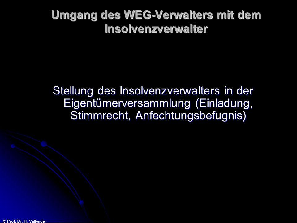 © Prof. Dr. H. Vallender Umgang des WEG-Verwalters mit dem Insolvenzverwalter Stellung des Insolvenzverwalters in der Eigentümerversammlung (Einladung
