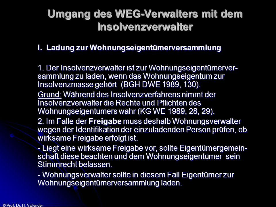 © Prof. Dr. H. Vallender Umgang des WEG-Verwalters mit dem Insolvenzverwalter I. Ladung zur Wohnungseigentümerversammlung 1. Der Insolvenzverwalter is