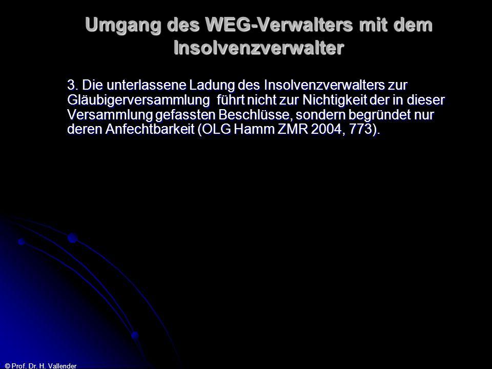 © Prof. Dr. H. Vallender Umgang des WEG-Verwalters mit dem Insolvenzverwalter 3. Die unterlassene Ladung des Insolvenzverwalters zur Gläubigerversamml