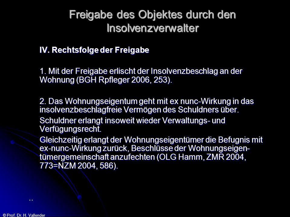 © Prof. Dr. H. Vallender Freigabe des Objektes durch den Insolvenzverwalter IV. Rechtsfolge der Freigabe 1. Mit der Freigabe erlischt der Insolvenzbes