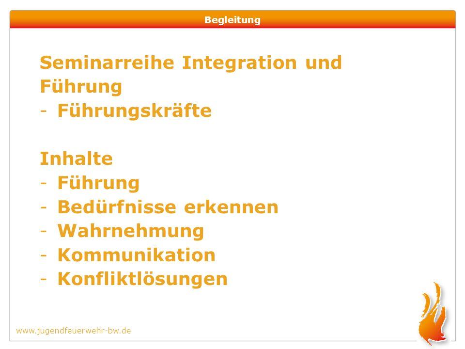 www.jugendfeuerwehr-bw.de Begleitung Seminarreihe Integration und Führung -Führungskräfte Inhalte -Führung -Bedürfnisse erkennen -Wahrnehmung -Kommunikation -Konfliktlösungen