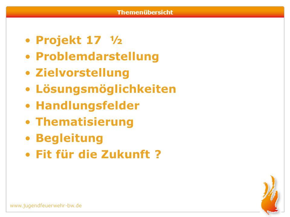 www.jugendfeuerwehr-bw.de Themenübersicht Projekt 17 ½ Problemdarstellung Zielvorstellung Lösungsmöglichkeiten Handlungsfelder Thematisierung Begleitung Fit für die Zukunft