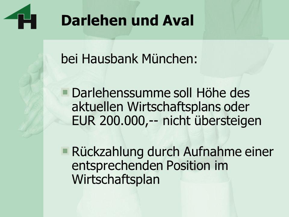 Darlehen und Aval bei Hausbank München: Darlehenssumme soll Höhe des aktuellen Wirtschaftsplans oder EUR 200.000,-- nicht übersteigen Rückzahlung durc