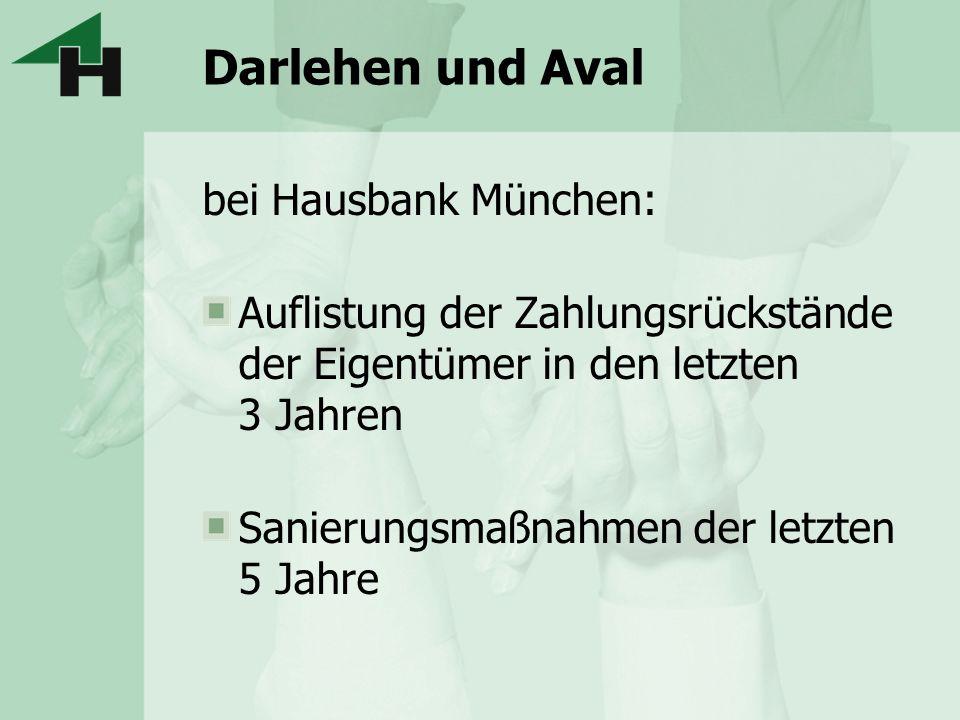 Darlehen und Aval bei Hausbank München: Auflistung der Zahlungsrückstände der Eigentümer in den letzten 3 Jahren Sanierungsmaßnahmen der letzten 5 Jah