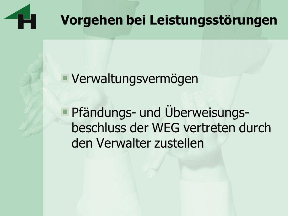 Vorgehen bei Leistungsstörungen Verwaltungsvermögen Pfändungs- und Überweisungs- beschluss der WEG vertreten durch den Verwalter zustellen