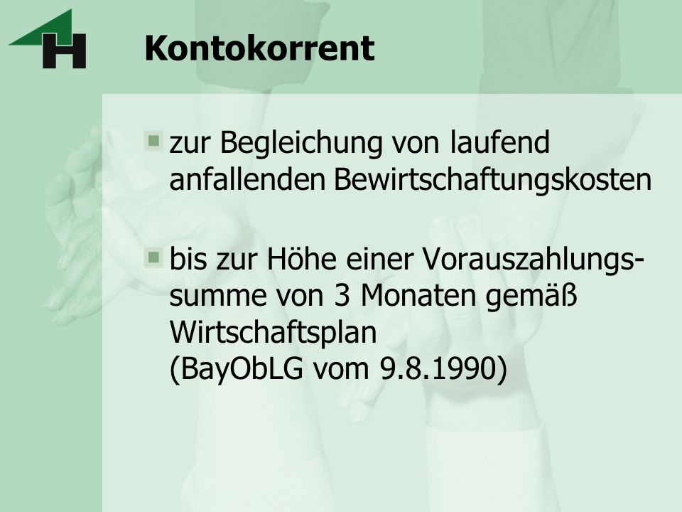 Darlehen und Aval bei Hausbank München: Verwalterbestellung muss noch mind.