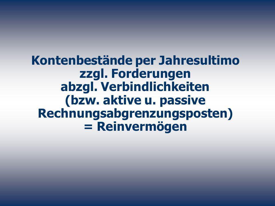 Kontenbestände per Jahresultimo zzgl. Forderungen abzgl. Verbindlichkeiten (bzw. aktive u. passive Rechnungsabgrenzungsposten) = Reinvermögen
