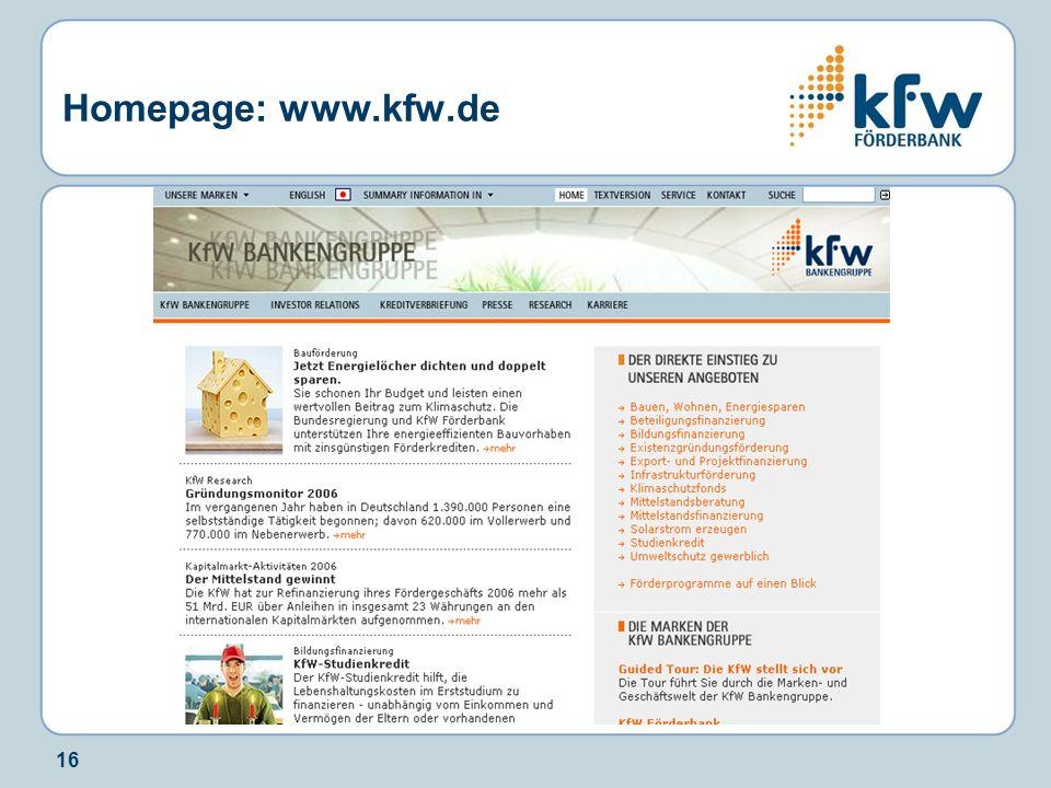 16 Homepage: www.kfw.de