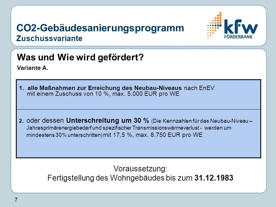 7 Was und Wie wird gefördert? Variante A. Voraussetzung: Fertigstellung des Wohngebäudes bis zum 31.12.1983 CO2-Gebäudesanierungsprogramm Zuschussvari