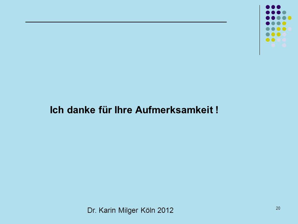20 Dr. Karin Milger Köln 2012 _________________________________________________ Ich danke für Ihre Aufmerksamkeit !