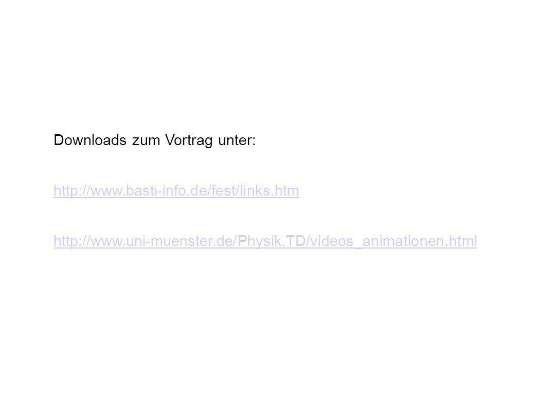 Downloads zum Vortrag unter: http://www.basti-info.de/fest/links.htm http://www.uni-muenster.de/Physik.TD/videos_animationen.html
