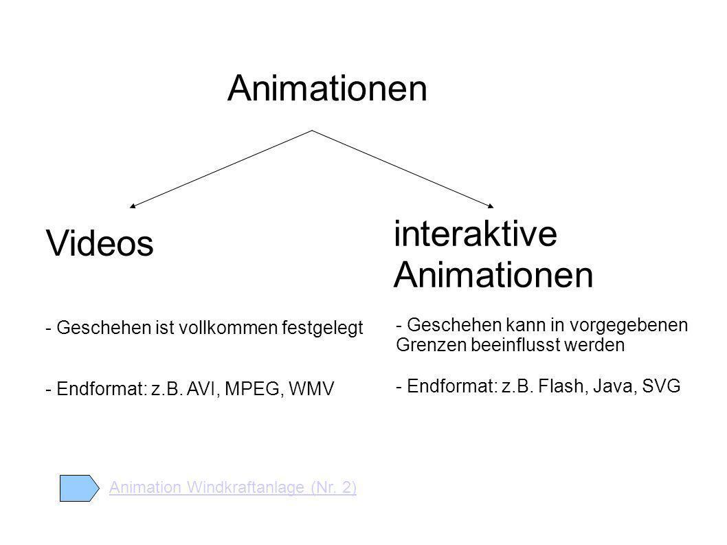 Animationen Videos interaktive Animationen - Geschehen ist vollkommen festgelegt - Endformat: z.B.